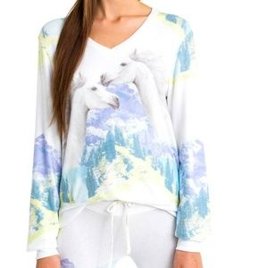Wildfox Wild Horses Baggy Beach Jumper V-Neck Top